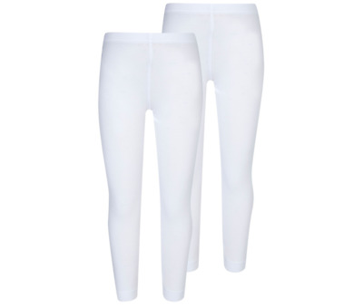 Girls White Plain Kids Full Long Length Cotton School Sport Fashion Leggings