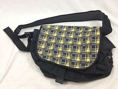 a950fb7b668c LL Bean Shoulder Strap Messenger School Bag Yellow Black Plaid Campus  Backpack