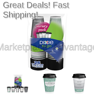 DIXIE TO GO Hot Beverage Cups Lids, 12 Oz, 156 count
