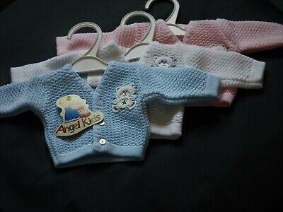 Premature  Baby Boy  Girl Knitted Cardy With Teddy Motiff