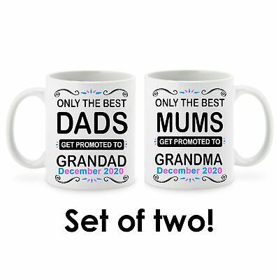 Only the best Grandparent Mug Set - Personalised Due Date Pregnancy Announcement