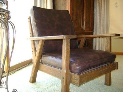 Brandt ranch oak arm chair  vintage 1900  HIGHLY COLLECTIBLE