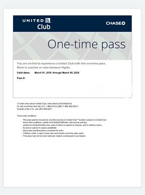 UNITED CLUB PASSES- Two (2) Passes Valid For Your Date Of Travel