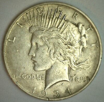 1934 D Peace Silver Dollar United States Denver Mint Coin $1 F Fine