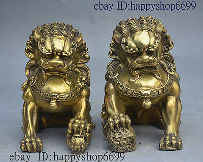 "6"" China Folk FengShui Brass Jixiang Door Guardian Foo Fu Dog Lion Statue Pair"