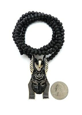 "EGYPTIAN ANUBIS HEAD PENDANT 6mm/30"" WOOD BEAD CHAIN HIP HOP NECKLACE RC3312"