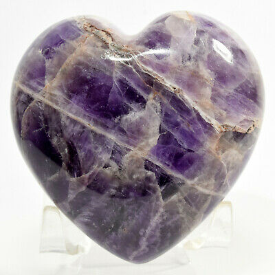 """2.8"""" Purple Amethyst Puffy Heart Natural Crystal Polished Mineral Stone - India"""