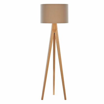 Home Collection - Hudson Wooden Tripod Floor Lamp RRP £180 DESIGNER