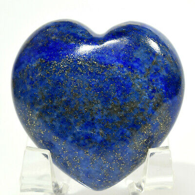 46mm Lapis Lazuli w/ Pyrite Heart Blue Sparkling Natural Mineral - Afghanistan