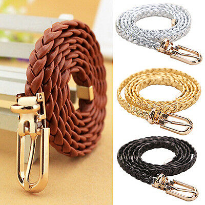 ALS_ HK- Women Lady Braided PU Leather Thin Buckle Strap Waist Belt Waistband Af