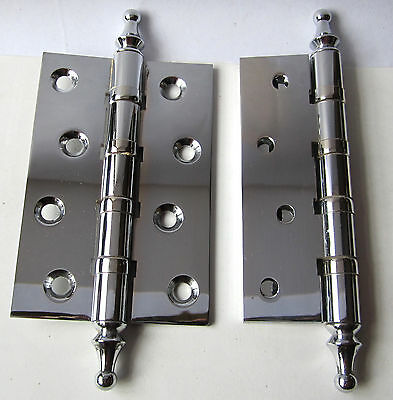 2 Pairs  Ball Bearing Door Hinges Solid Brass Chrome Plated 4 x 2-5/8 4BB