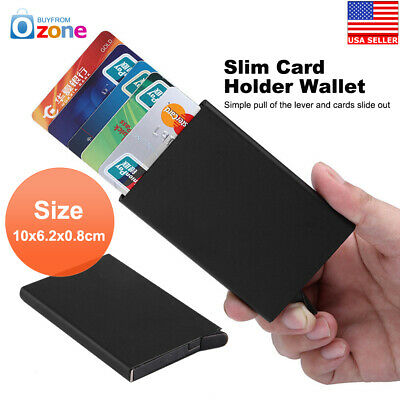 RFID Card Holder Pop Up Aluminium Wallet Men Women ID Protector Slim Purse Black