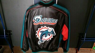 VTG 90S MIAMI DOLPHINS Leather Bomber Jacket G-III Carl Banks Black ... 4b90877ab