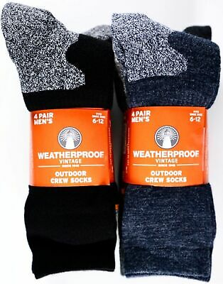 Weatherproof Outdoor Trail Wool Blend Crew Socks, Fits Shoe Size 6-12,  4 Pairs