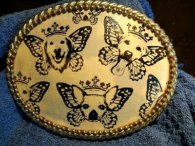 REDUCED! VTG silvertone belt buckle with butterfly dogs with crown& saddle hook