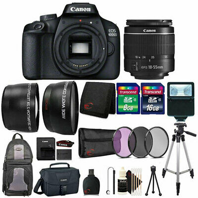 Canon EOS 4000D / Rebel T100 18MP Digital SLR Camera with 18-55mm Lens Bundle