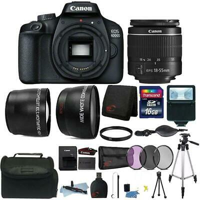 Canon EOS 4000D Rebel T100 18MP Digital SLR Camera + 18-55mm Lens + 16GB Bundle