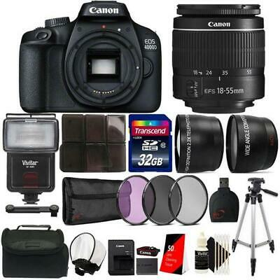 Canon EOS 4000D Rebel T100 18MP DSLR Camera with 18-55mm lens + Flash Top Bundle