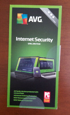 AVG INTERNET SECURITY 2019 UNLIMITED DEVICES 2 YEAR New Keycard Ships 3 Day !!