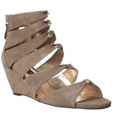f5c615694d7 Steven By Steve Madden Gabbey Taupe Suede Strappy Wedge Gladiator Sandals