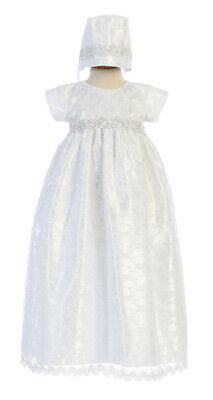 Baby Girls White Lace Christening Baptism Long Dress Gown Flower Wedding Easter