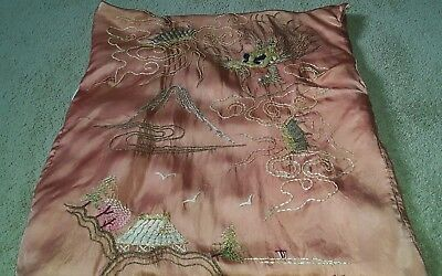 c5a81b69ef ON SALE 1920s 1930s Vintage Rose Gold Dragon Kimono Heavy Embroidery