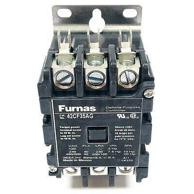 Furnas 42CF35AG Definite Purpose Contactor, 3-Pole, Open, 40 FLA, 208-240VAC
