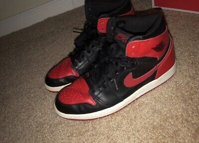 best cheap 96682 03012 2001 Nike Air Jordan 1 Retro Bred Size 9.5 Black Varsity Red 136066 061