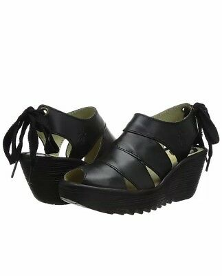f7557b758f Womens Fly London Yown Rug Leather Lace Up Peep Toe Wedge Heel Sandals UK 5.