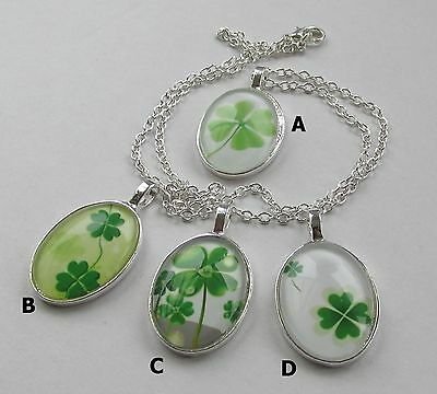 Handmade Oval Green Four Leaf Lucky Clover Shamrock Glass Pendant Chain Necklace