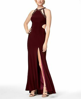 $459 Betsy & Adam Women'S Red Embellished Cut-Out Sleeveless Gown Dress Size 4