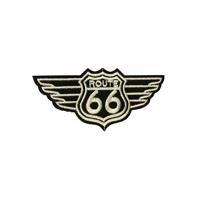 Route 66 Wings (Iron On) Embroidery Applique Patch Sew Iron Badge