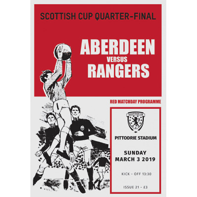 ABERDEEN v RANGERS 3/3/2019 SCOTTISH CUP OFFICIAL PROGRAMME