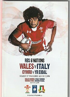 2012-WALES V ITALY-GRAND SLAM-SIX-6 NATIONS-RUGBY UNION PROGRAMME With Ticket