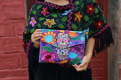 Handmade Embroidered Mexican Clutch Cross Body Bag Sugar Skull Day of the Dead