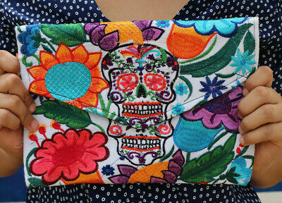 Handmade Embroidered Mexican Sugar Skull Clutch Cross Body Bag Day of the Dead