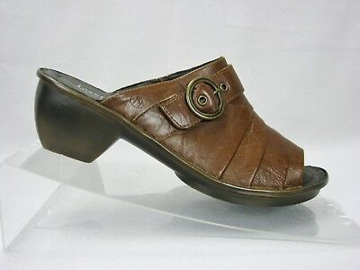5e6f9a2871c4 Josef Seibel Brown Leather Mules Clogs Buckle Slides Womens Size 40 US 9 -  9.5