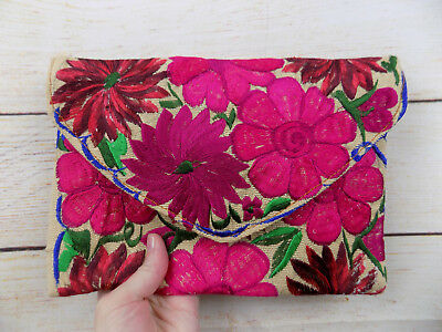 Handmade Floral Embroidered Mexican Clutch Purse Cross Body Bag Pink Flowers