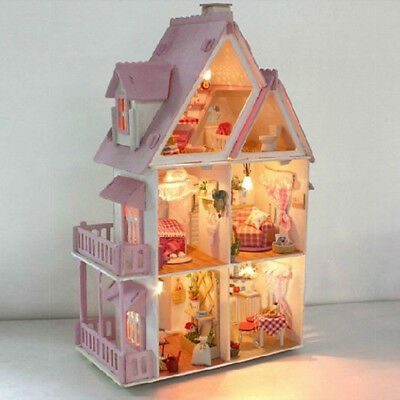 Wood Handicraft Doll House DIY Miniature Kit LED Dollhouse Furniture Toy Gift
