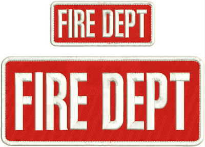 FIRE AEMT EMBROIDERY PATCH  4X10 AND 2X5 HOOK  ON BACK  OD//red