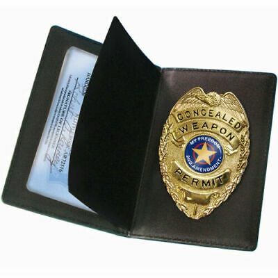 CWPB PS Products Concealed Carry Badge and Black Leather Wallet