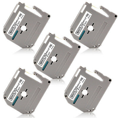 5PK MK-231 12MM P-Touch Label Tape Compatible for Brother PT65 PT80 PT90 PTM95