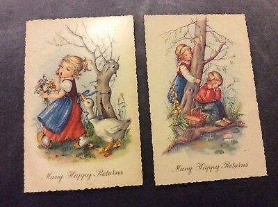 Antique Many Happy Returns Postcards - Set of Two