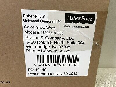 Fisher Price 18993303 Universal Guard Rail 19-Inch  SNOW WHITE NEW IN BOX