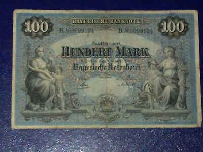 Germany - Bayerish-100 Mark  Banknote 1900 - Munich-Very Fine
