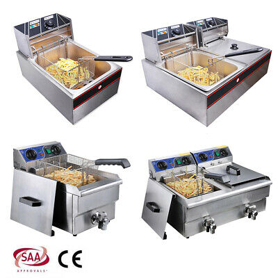 10/12/20L Electric Commercial Deep Fryer Fat Fry Chip Countertop Stainless Steel