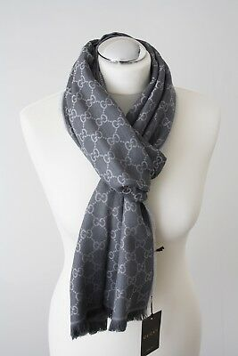 10b64a2e90a5 GUCCI KNIT SCARF with Gg Jacquard Pattern 27 5 8x78 11 16in Wool ...