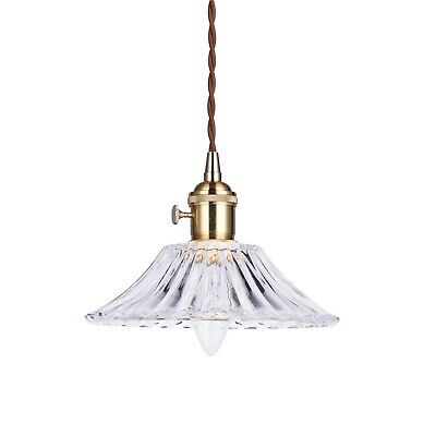 FLEUR Vintage Glass Pendant Light Gold Hardware Tapered Shade Chic French Style