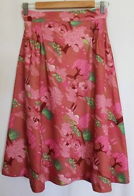 VINTAGE 1970's Pink Brown Green Cherry Blossom Floral A-Line Belted Skirt 8