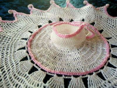 Charming Crochet Cup & Saucer Sitting Atop!  Vintage Hand Crochet Beaded Cover